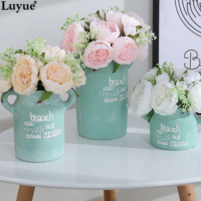 Luyue официальный магазин европейский стиль пион букет искусственного шелка цветы 11 голов мини люкс свадебный цветок украшение дома