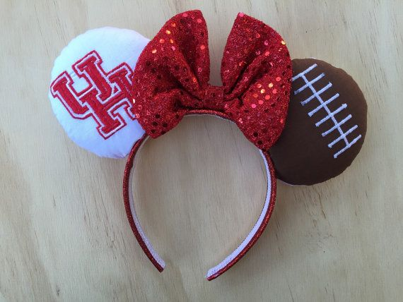 University of Houston Minnie Mouse Ears by FieldofThread on Etsy