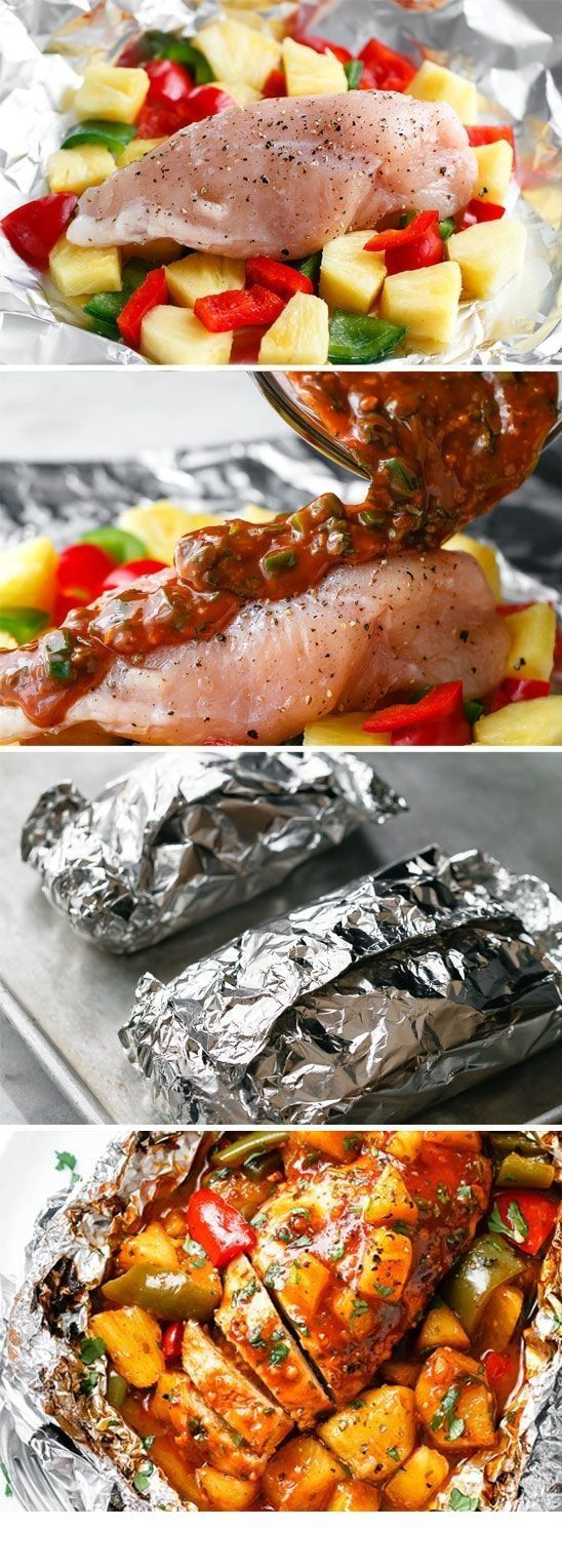 BBQ aluminum chicken baked pineapple packages – Everything looks good – #Alu …   – Foil Pack Recipes