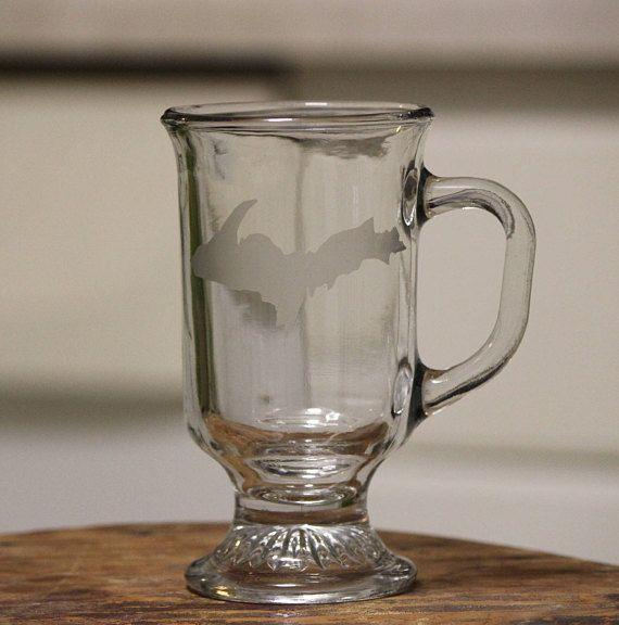 Etched Glass Upper Peninsula Yooper Coffee mug