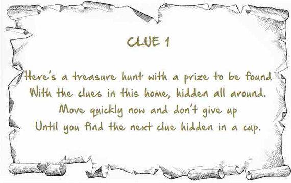 Indoor Treasure Hunt Clues Printable  Instant by ChildrenIndoors