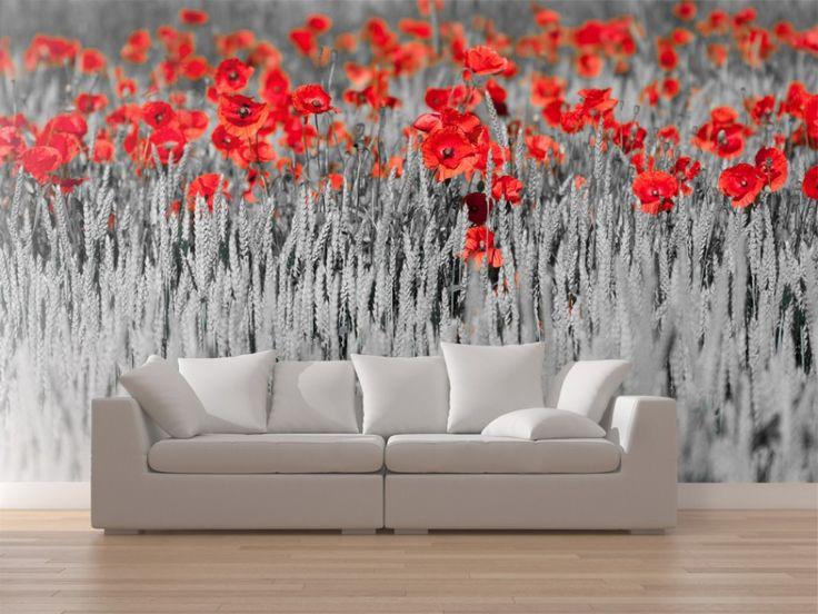 Coquelicots rouges raviveront  un salon clair #papierspeints #papierpeint #nature #fleurs #coquelicots #plantes #salon #bimago