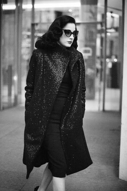 Dita von Teese in sparkly coat