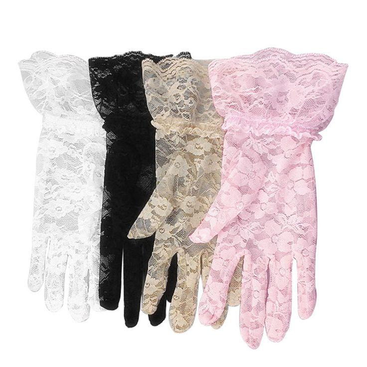 Lace Ruffle Wrist Jacquard Pattern Lace Gloves