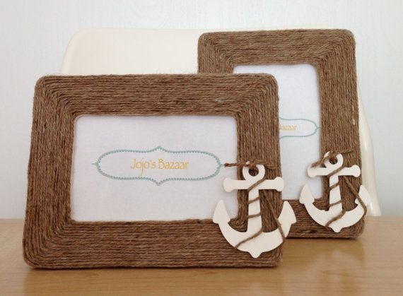 Nautical Anchor Picture Frame in Natural Jute by Jojosbazaar, $15.00 Beach Themed Home Decor