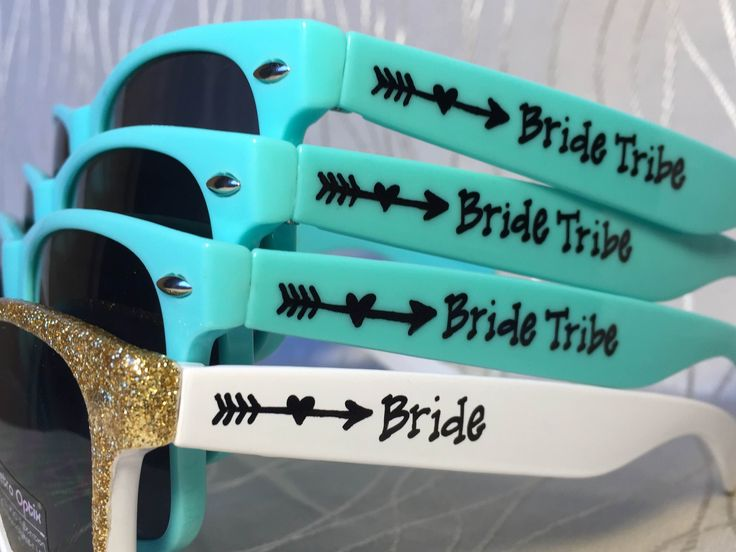 Teal Bride Tribe sunglasses with an arrow!  A bachelorette party must have!
