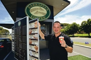 Brewing it up... Zarraffa's Coffee chief executive Kenton Campbell. Picture: Marcus Whisson www.communitypix.com.au