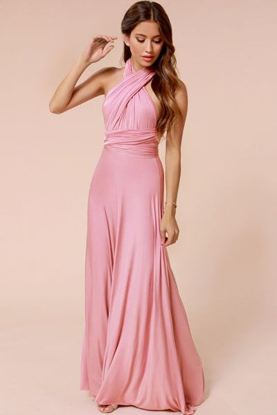 Sexy Plated Mauve Cocktail Jersey Maxi Dress
