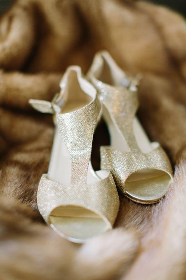 gold Jimmy Choos, photo by Mustard Seed Photography http://ruffledblog.com/romantic-paris-elopement #weddingshoes #jimmychoo