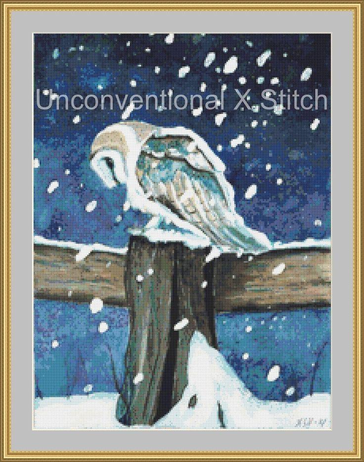 Snowy Owl in Snow cross stitch pattern - Licensed Karita Smevag Halten by UnconventionalX on Etsy