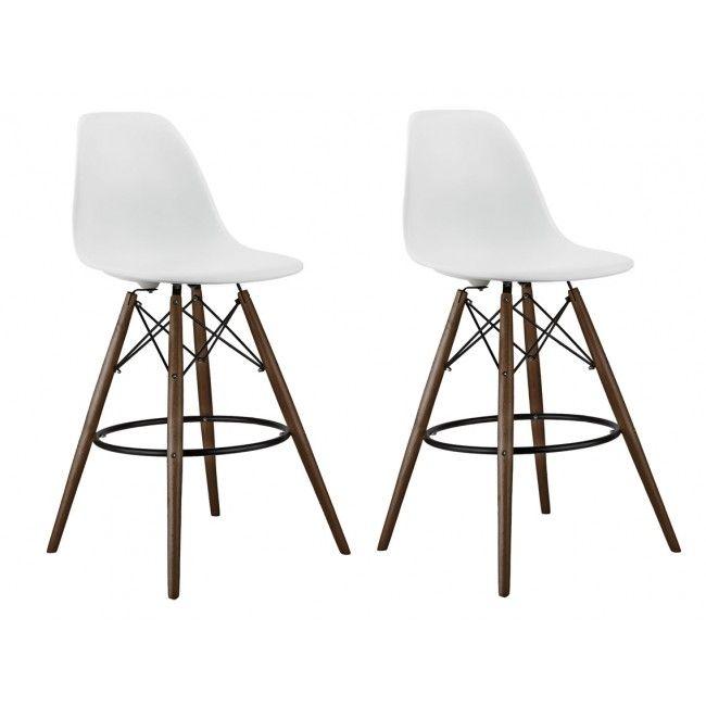 Set of 2 26 Inch White Eames Style DSW Counter Stool with Dark Walnut Wood Eiffel Legs