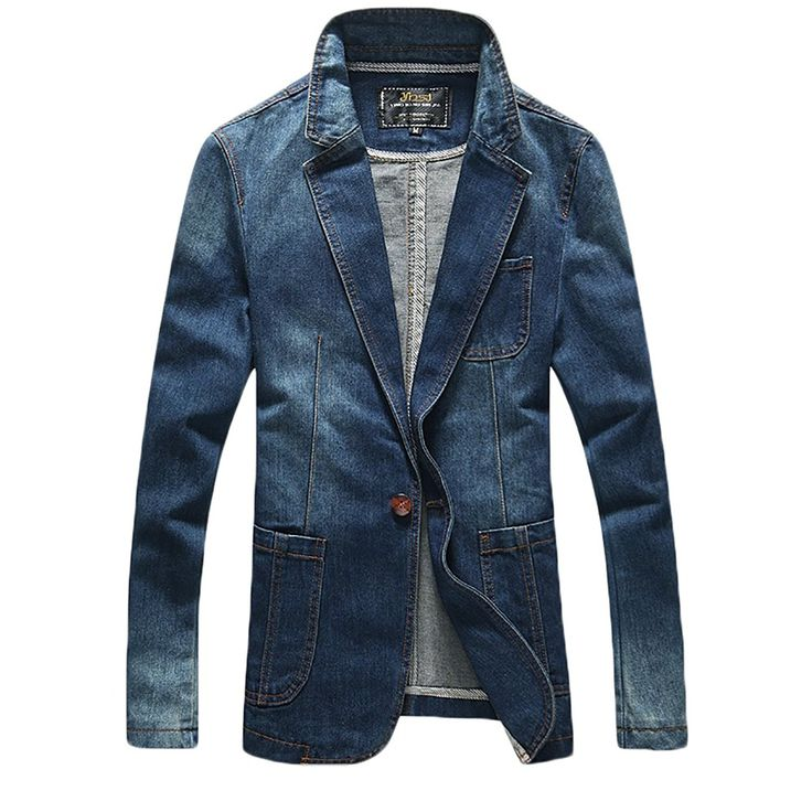 Amazon   (ラクエスト) Laquest ワンボタン デニムジャケット メンズ スリム 大きいサイズあり   コート・ジャケット 通販