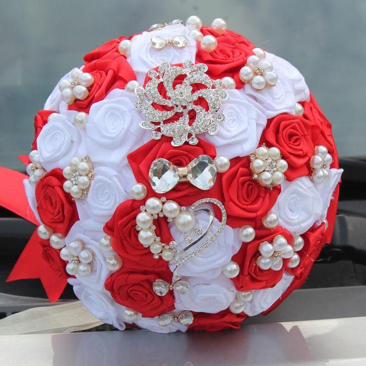Beste Qualität luxuriöse Perle Diamant Bogen Hochzeit Brautstrauß Kristall …  – Festive & Party Supplies