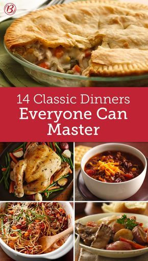 Everyone should know how to make these classic recipes! Pot roasts, potpies, classic beef stroganoff and other crowd-pleasing meals make dinnertime traditions even more delicious.