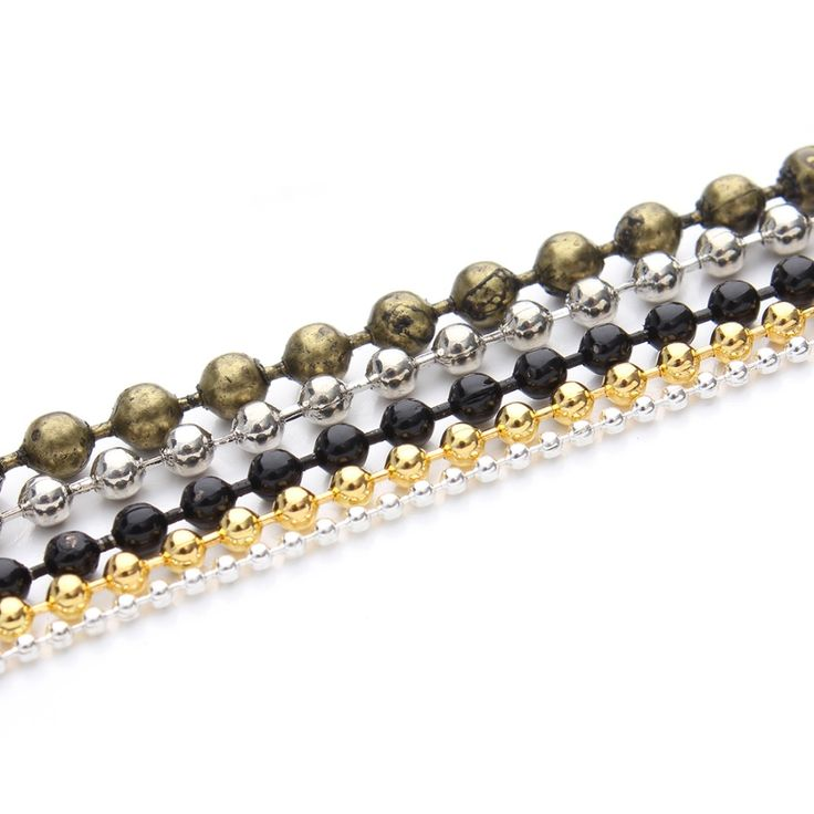 10m/lot 1.2/1.5/2mm Brass Necklace Ball Bead Chain Bulk Gold/Silver/Black/Rhodium Link Chains For DIY Bracelets Jewelry Making