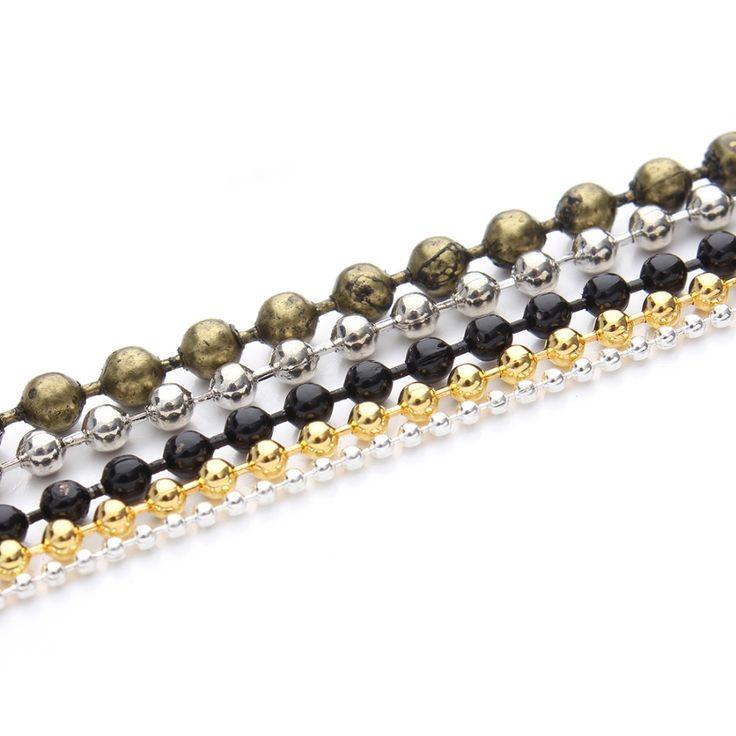 10 mét/lô 1.2/1.5/2 mét Brass Necklace Bóng Bead Chuỗi Số Lượng Lớn Vàng/Bạc/Đen/Rhodium Liên Kết Chains Cho DIY Vòng Tay Trang Sức Làm