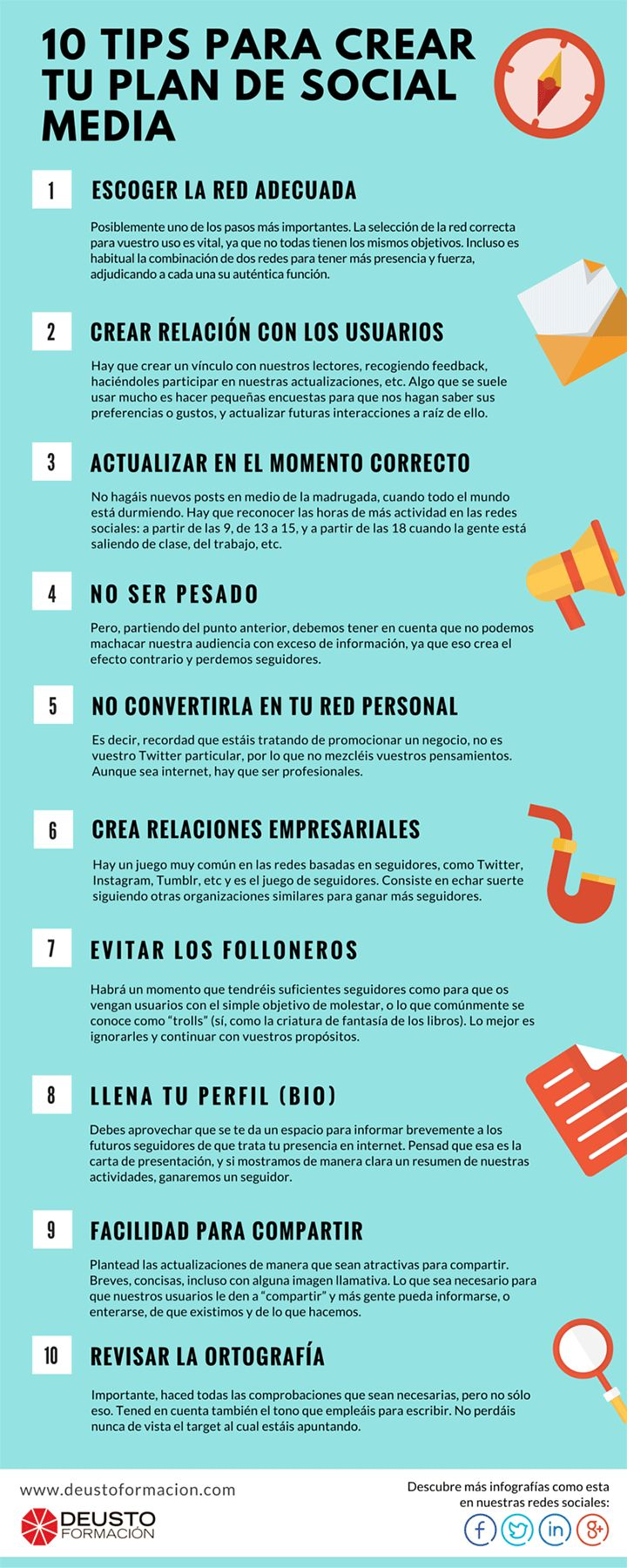 10 tips para crear tu plan de social media. Infografía en español. #CommunityManager