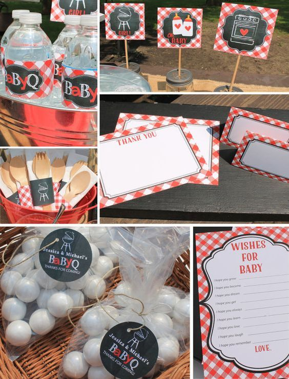 Red Baby Q Decorations Package baby shower by CoralBalloon on Etsy