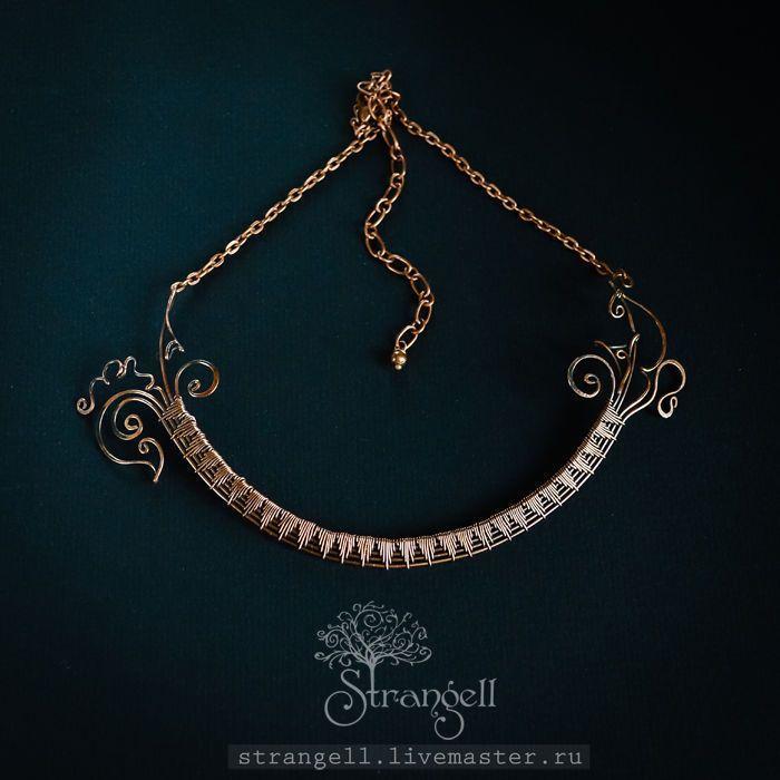 Купить Медное колье Изящное украшение на шею Чокер Черный ожерелье wire wrap