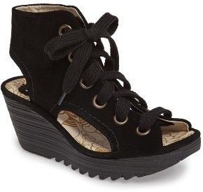 Women's Fly London Yaba Lace-Up Platform Wedge #wedge
