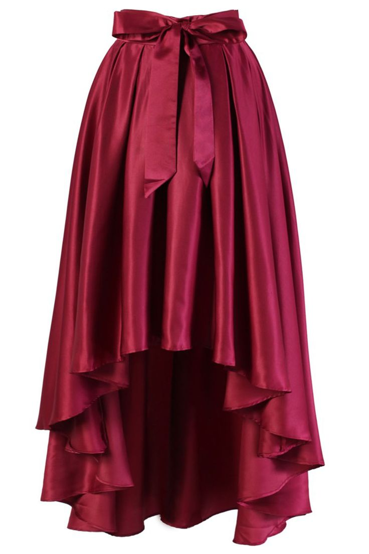 Burgundy satin high low skirt, prom dress 2017