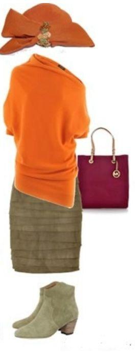 Оранжевый кардиган, вишневое платье, шляпа, синие ботильоны