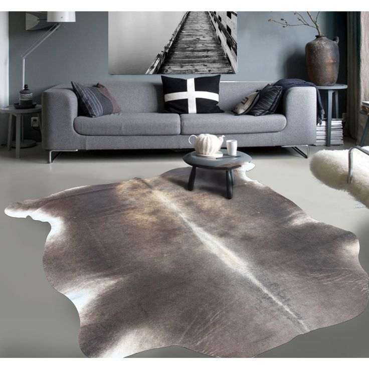 Premium Natural Argentinean Bicolor White/Brown Cowhide Rug (5 'x 7') | Overstock.com Shopping - The Best Deals on 5x8 - 6x9 Rugs
