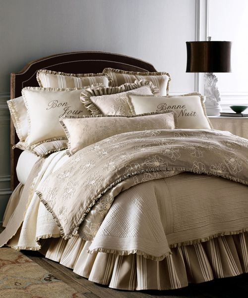 French Laundry Bedding - Maxine French Laundry Bedding: Laundry Maxine Bedding has a large floral pattern teamed with striking striped linens.