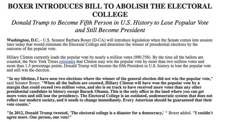 Senator introducing bill to abolish electoral college | Barbara Boxer, on her way out of office, introducing legislation to ...