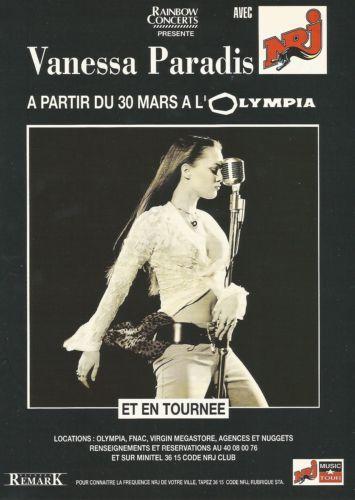 Concert Vanessa Paradis / 1992 / 1 page / Publicité de presse, advertising
