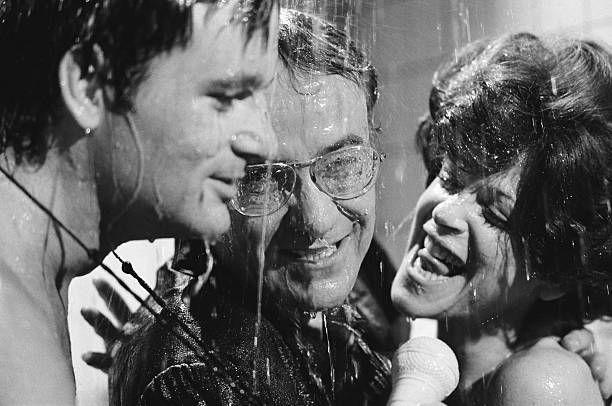 Bill Murray as Richard Herkiman Buck Henry as Richard Calarski Gilda Radner as Jane Herkiman during 'Shower Mike' skit on May 21 1977 Photo by NBCU...