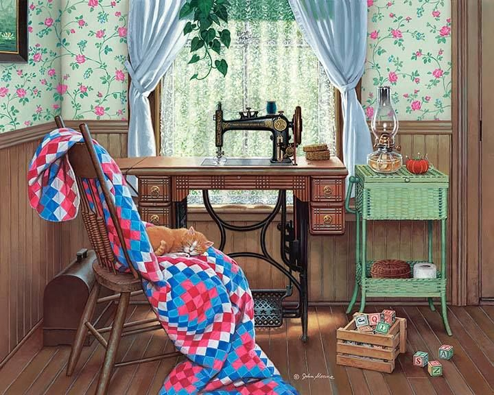 """John Sloane -- """"Sewing Corner"""" -- Featuring Grandmother's antique sewing machine, Grandma saved up a long time for this magnificent Montgomery Ward sewing machine, which cost an extravagant $19.50 in 1895. The kerosene lamp in my scene hints at many late-night sewing sessions while the family slept. Perhaps her quilt was inspired by the child's wooden blocks nearby."""