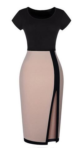 Love this Dress Design! Super Sexy Black and Tan BodyCon Dress Fashion