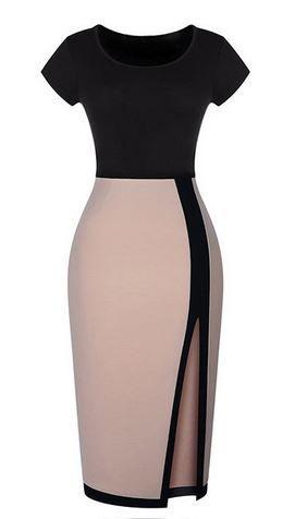 Love this Dress Design! Super Sexy Black and Tan BodyCon Dress Fashion #Sexy #Black #Tan #BodyCon #Dress #Fashion