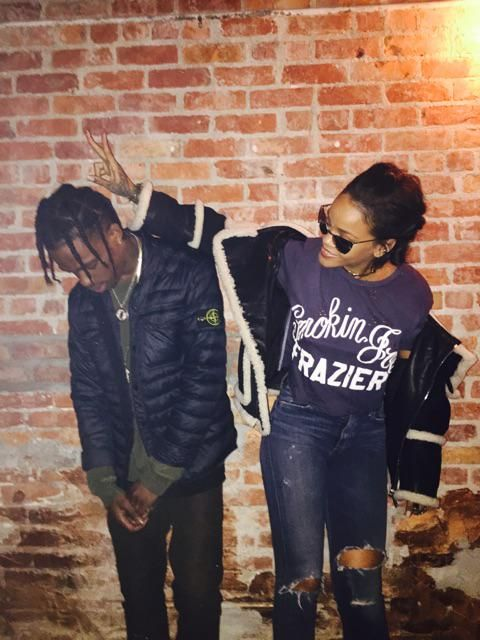Rihanna and Travis Scott tonight at his concert in Long Island, NY. (3.14.15)