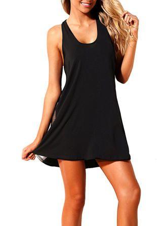 VERYVOGA Solid Color Strap Elegant Plus Size Swimdresses Swimsuits