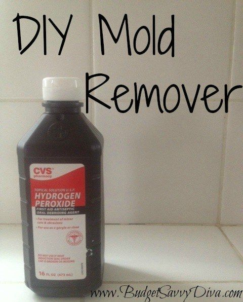 Dilute hydrogen peroxide with water, then spray it on any built-up mildew or mold.
