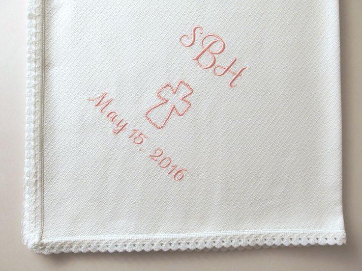 Personalized Baby Blanket Flannel Blanket Flannel Baby Blanket Lace Baby Blanket Pique Flannel Baptism Keepsake Swaddle Blanket Shower Gift by VirgoCottonLinen on Etsy #Baptism #Baby #BabyKeepsake #BabyBlanket