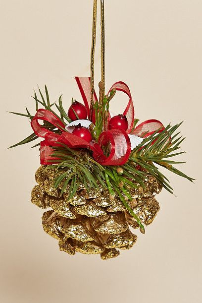 Set of Four, Sparkeling Gold Pine Cone Ornament with Red Berries, Pine and a Red Bow Hanger:
