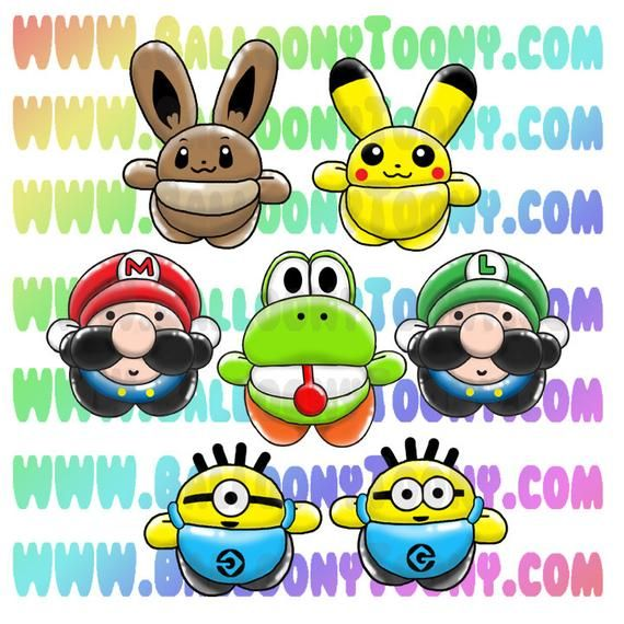 This Item Is A Digital Download Of Images Of Balloon Animals For Use In Your Balloon Menu Or Other Advertising Love These Ballo In 2021 Balloon Animals Balloons Chibi