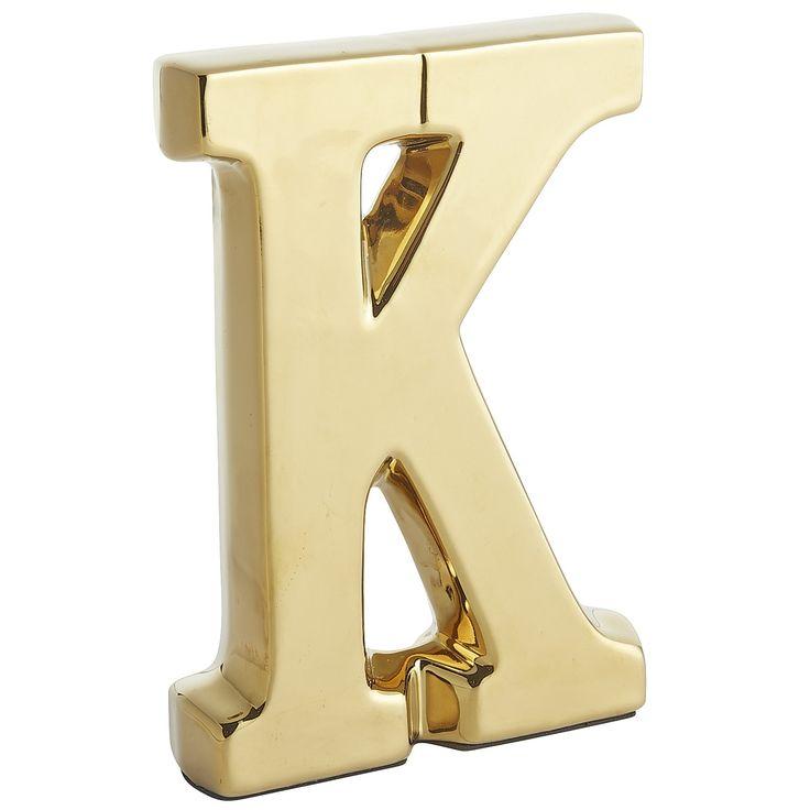 Monogram ceramic letter gold k earthenware decor for Letter k decoration