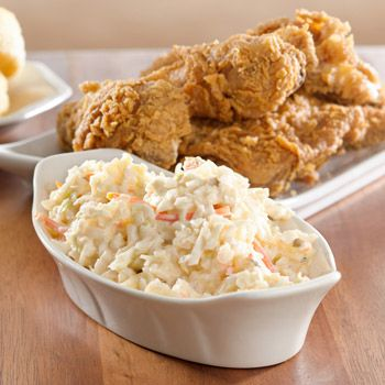 ^ Copycat KFC Coleslaw Recipe- 8 cups Cabbage -- chop very fine, 1/4 c. Carrots -- shred fine (about 1 large), 1 Tb finely Minced Onion 1/2 c. Mayo 1/3 c. sugar 1/4 c. milk  2 1/2 Tb Lemon Juice  1 1/2 Tb Vinegar (white)  1/2 tsp salt  1/4 tsp pepper