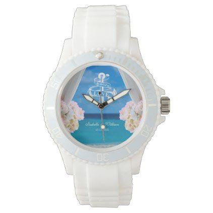 Modern Floral Blue Ocean Beach Wedding Wrist Watch - summer wedding diy marriage customize personalize couple idea individuel