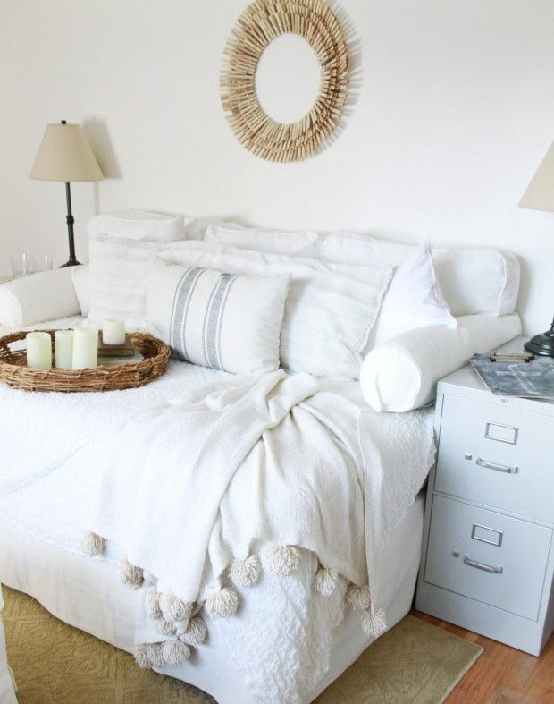 DIY Lounge Sofa/Guest Bed - full sized bed, slipcover pieces stuffed with pillows, lots of pillows
