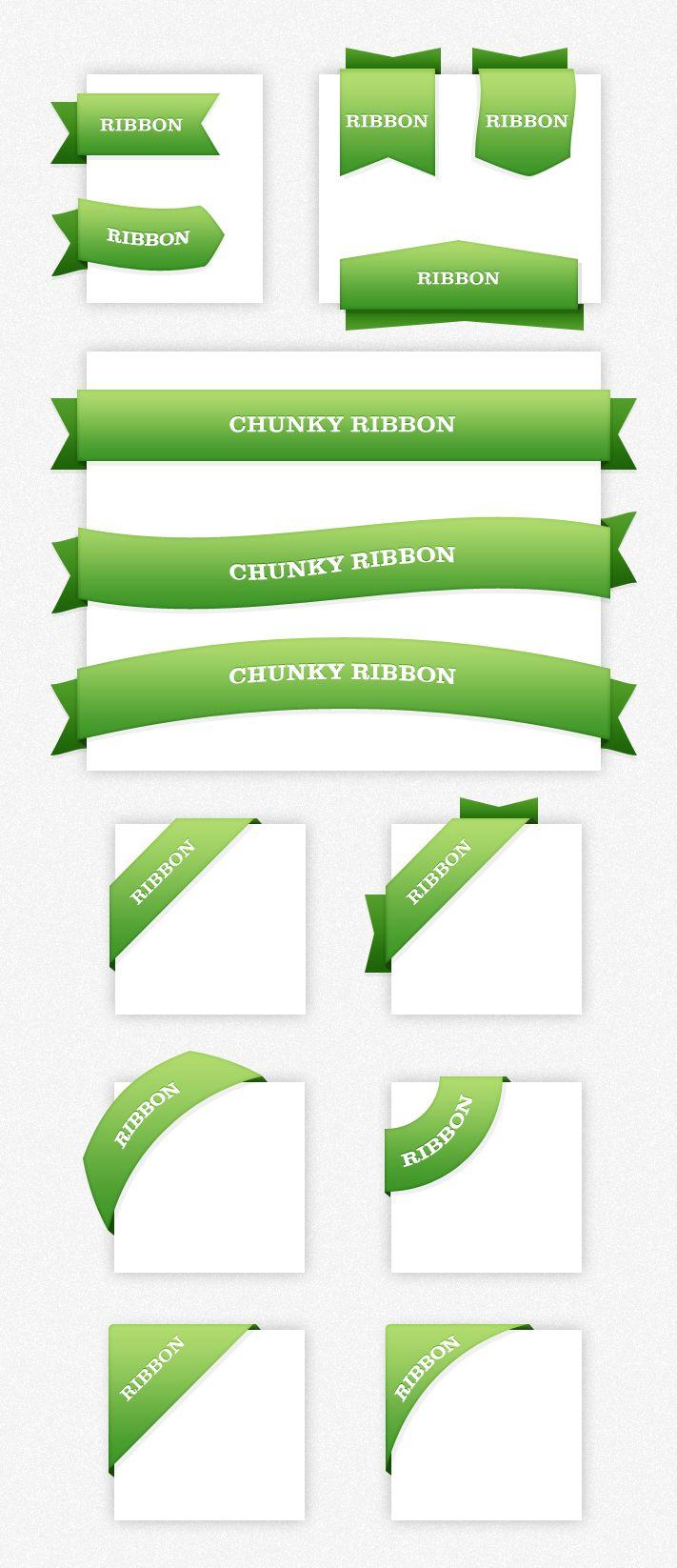 Free Chunky Web Ribbons PSD