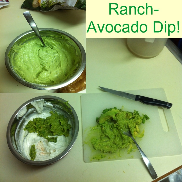 Ranch-Avocado Dip! Get a ranch dip packet, sour cream, and 2 avocados. Follow the directions to make ranch dip. Take two avocados, cut open and spoon all avocado out on to a cutting board. then mash avocados with a fork. Add avocados to ranch dip and stir! Finally enjoy with chips or ritz crackers!
