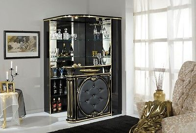 Tiffanie Corner Bar Black Gold Italian Furniture Home Bar Home Furniture And Italian