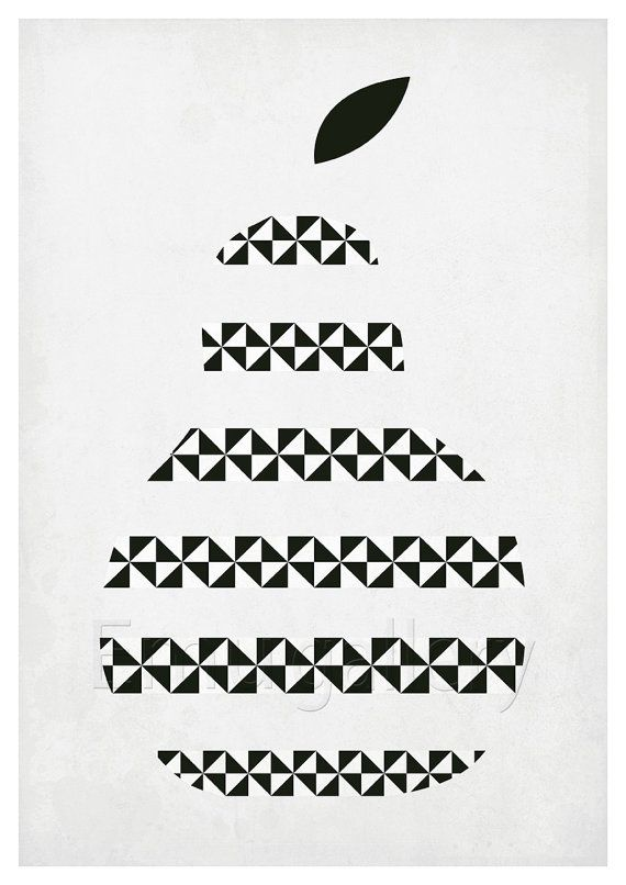 Fruit retro poster kitchen art pear minimalist by EmuDesigns