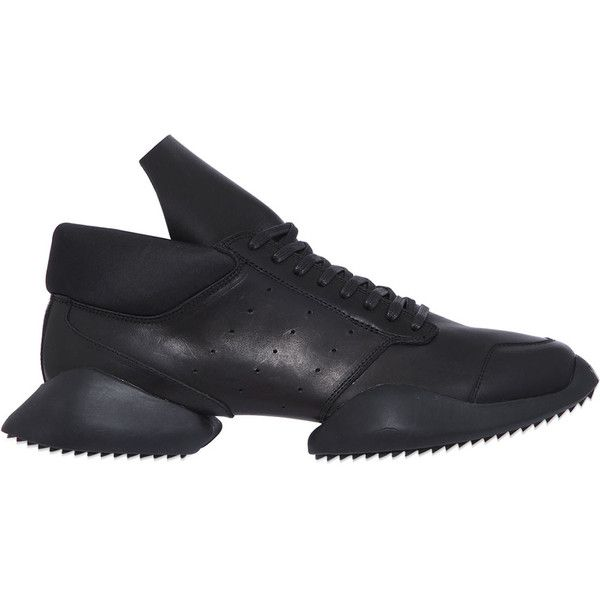 Rick Owens By Adidas Women Split Sole Leather Runner Sneakers (2,420 CNY) ❤ liked on Polyvore featuring shoes, sneakers, black, adidas shoes, perforated leather shoes, black sneakers, black trainers and adidas trainers