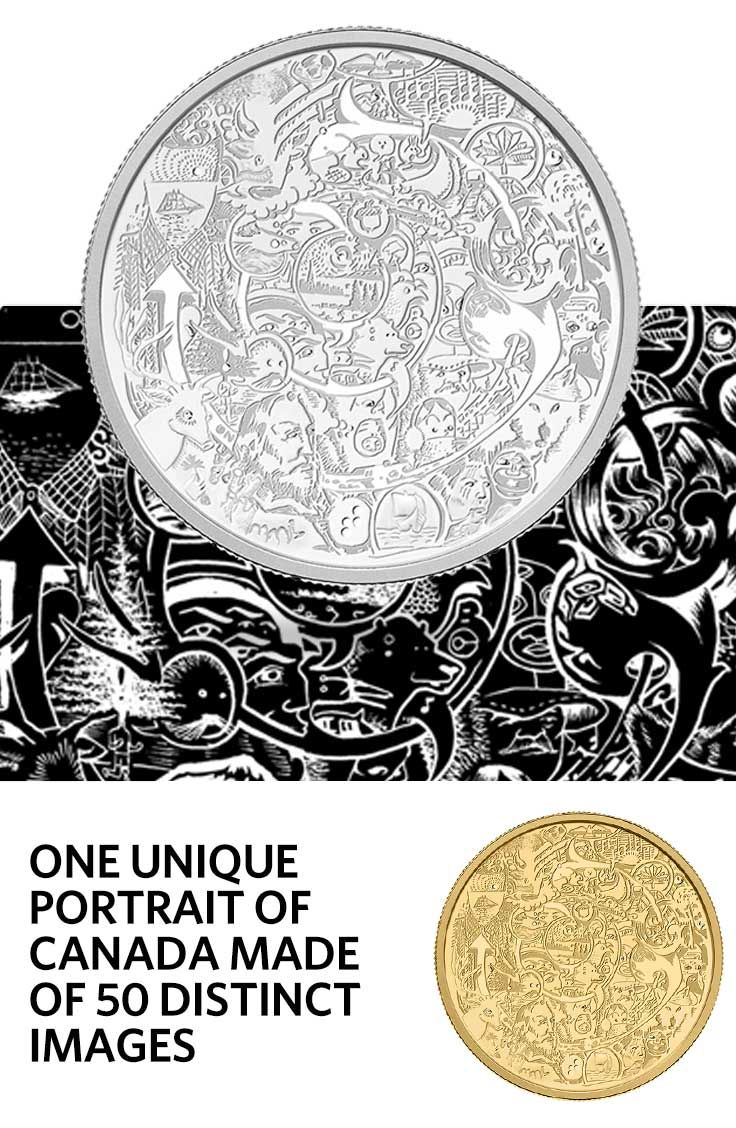 2 oz. Fine Silver and 2 oz. Pure Gold Coin - Canada Through the Eyes of Time Barnard (2014)